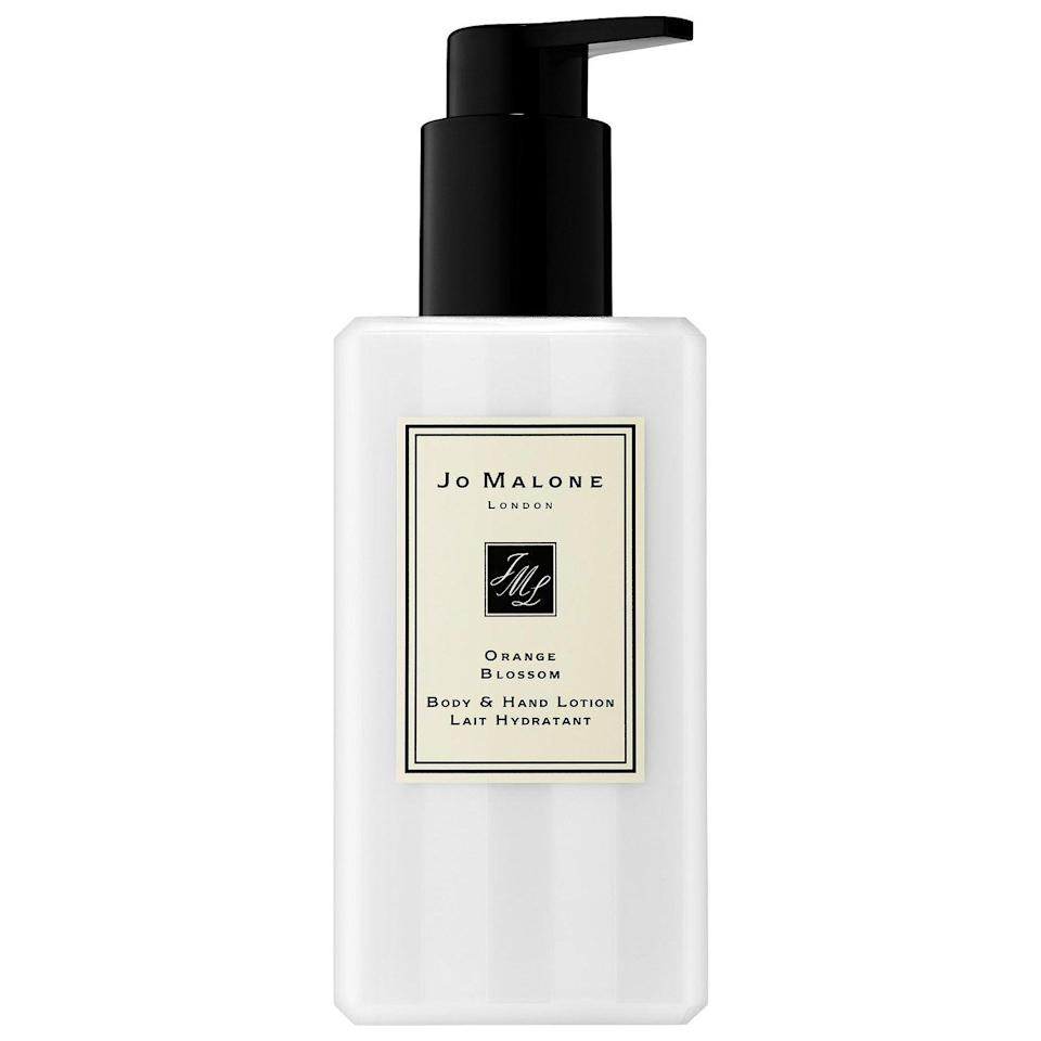 """<p><strong>Jo Malone London</strong></p><p>sephora.com</p><p><strong>$58.00</strong></p><p><a href=""""https://go.redirectingat.com?id=74968X1596630&url=https%3A%2F%2Fwww.sephora.com%2Fproduct%2Forange-blossom-body-hand-lotion-P417199&sref=https%3A%2F%2Fwww.redbookmag.com%2Fbeauty%2Fg35003747%2Fbody-lotions-with-the-best-scent%2F"""" rel=""""nofollow noopener"""" target=""""_blank"""" data-ylk=""""slk:BUY IT"""" class=""""link rapid-noclick-resp"""">BUY IT</a></p><p>Rumor has it, Jo Malone Orange Blossom is Kate Middleton's signature scent, so there's that. This fresh-smelling lotion has notes of water lily and balsamic vetiver to round out the experience.</p>"""
