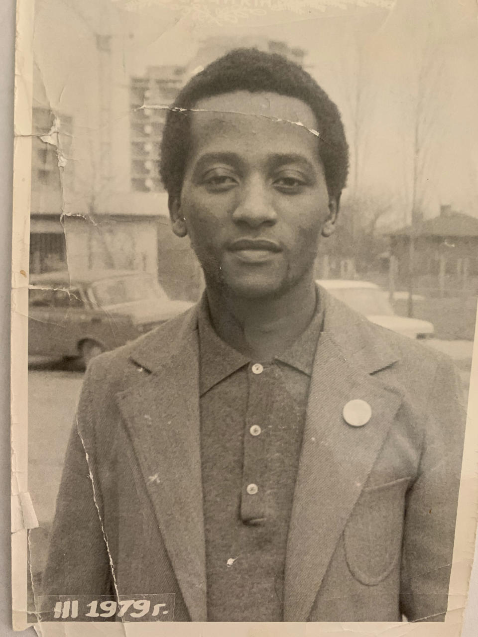 FILE - In In this photo supplied courtesy of the Mini family the late South African doctor and activist Dr. Clarence Mini is photographed in this 1979 photo in Bulgaria. Clarence Mini, a South African activist and doctor who died of COVID-19 spent his life fighting apartheid, the government's denial of HIV/AIDS and rampant corruption. Loved ones say Mini knew the odds were against him but he was committed to what he believed was right. He died in May at age 69. (Photo courtesy of the Mini family via AP)