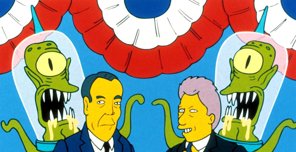 Kang and Kodos appeared alongside Bob Dole and Bill Clinton on an election parody from the 1996 'Treehouse of Horror' (Photo: 20th Century Fox Film Corp./Courtesy Everett Collection)