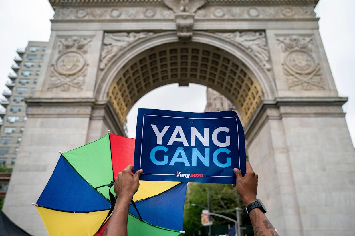 Waiting for Democratic presidential candidate Andrew Yang at a rally in Washington Square Park in New York City, May 14, 2019. (Photo: Drew Angerer/Getty Images)