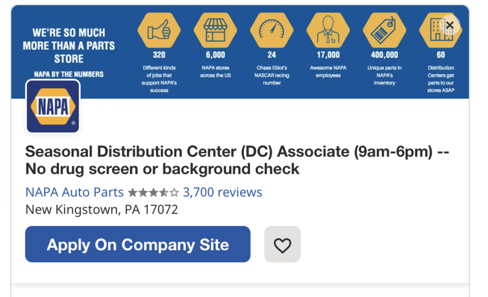 A job posting for Napa Auto Parts on the listings site Indeed notes