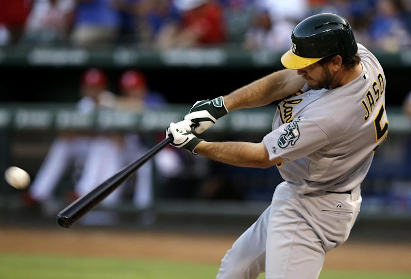 Jaso has 3 RBIs as A's beat Rangers 9-3