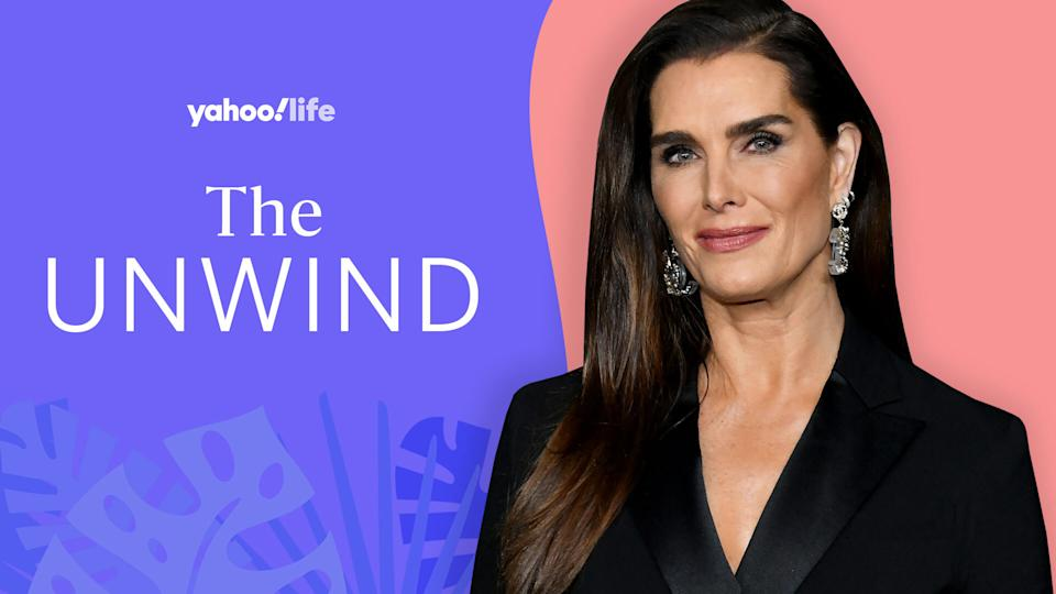 Brooke Shields opens up about prioritizing her mental health and celebrating her body in her 50s. (Image: Getty; designed by Quinn Lemmers)