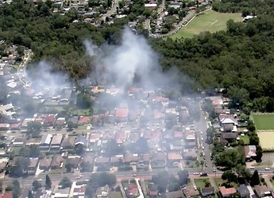 The fire in Northmead was first reported about 12.40pm on Sunday. Source: Nine News