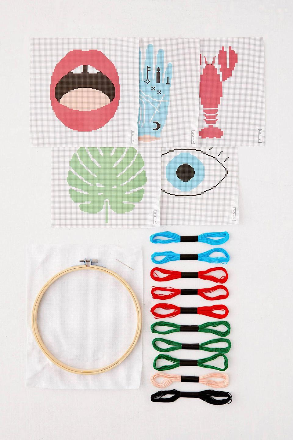 """<p><strong>Urban Outfitters</strong></p><p>urbanoutfitters.com</p><p><strong>$18.00</strong></p><p><a href=""""https://go.redirectingat.com?id=74968X1596630&url=https%3A%2F%2Fwww.urbanoutfitters.com%2Fshop%2Fstitch-it-diy-cross-stitch-kit&sref=https%3A%2F%2Fwww.cosmopolitan.com%2Flifestyle%2Fg32815611%2Fcare-package-ideas%2F"""" rel=""""nofollow noopener"""" target=""""_blank"""" data-ylk=""""slk:Shop Now"""" class=""""link rapid-noclick-resp"""">Shop Now</a></p><p>If the social meds have your crew feeling off, help them detox with this fun, non-screen related activity. The best part? It's pretty!</p>"""