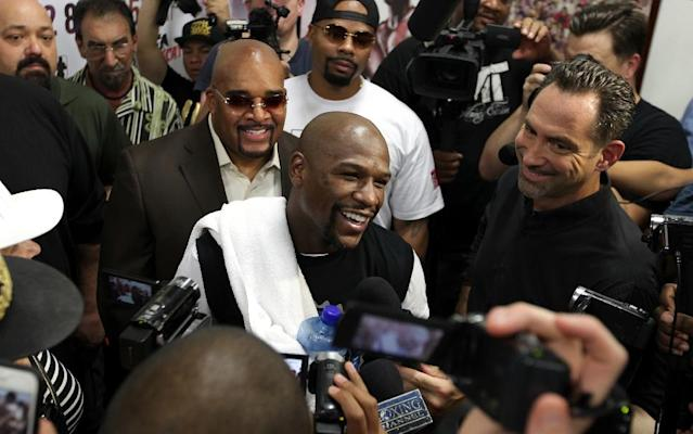 Floyd Mayweather Jr., pictured on August 26, 2015, said that he had achieved all he could from the fight game and Andre Berto was to be his final victim -- and he repeated that assertion afterwards (AFP Photo/John Gurzinski)