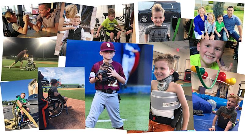 Will has been working to strengthen his arms, neck and core muscles to help compensate for his paralysis and learn new skills like transferring from his wheelchair into bed and back again. (Photo: Courtesy Tim Allen)