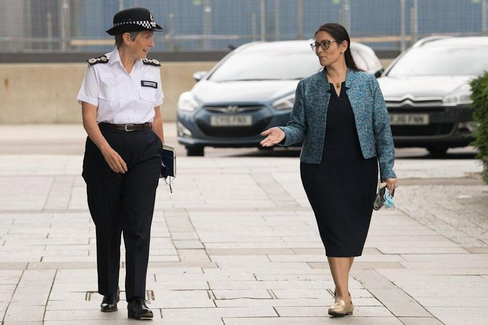 Dame Cressida with Home Secretary Priti Patel during a visit to the new Counter-Terrorism Operations Centre (Stefan Rousseau/PA) (PA Wire)