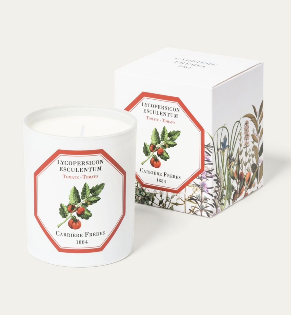 """<p><strong>Carrière Frères</strong></p><p>carrierefreres.com</p><p><strong>$65.00</strong></p><p><a href=""""https://carrierefreres.com/us_en/candles-home-fragrances/icons/tomato/tomato-candle.html"""" rel=""""nofollow noopener"""" target=""""_blank"""" data-ylk=""""slk:Shop Now"""" class=""""link rapid-noclick-resp"""">Shop Now</a></p><p>I don't know what a tomato-scented candle would smell like, but I'm DYING to find out. </p>"""
