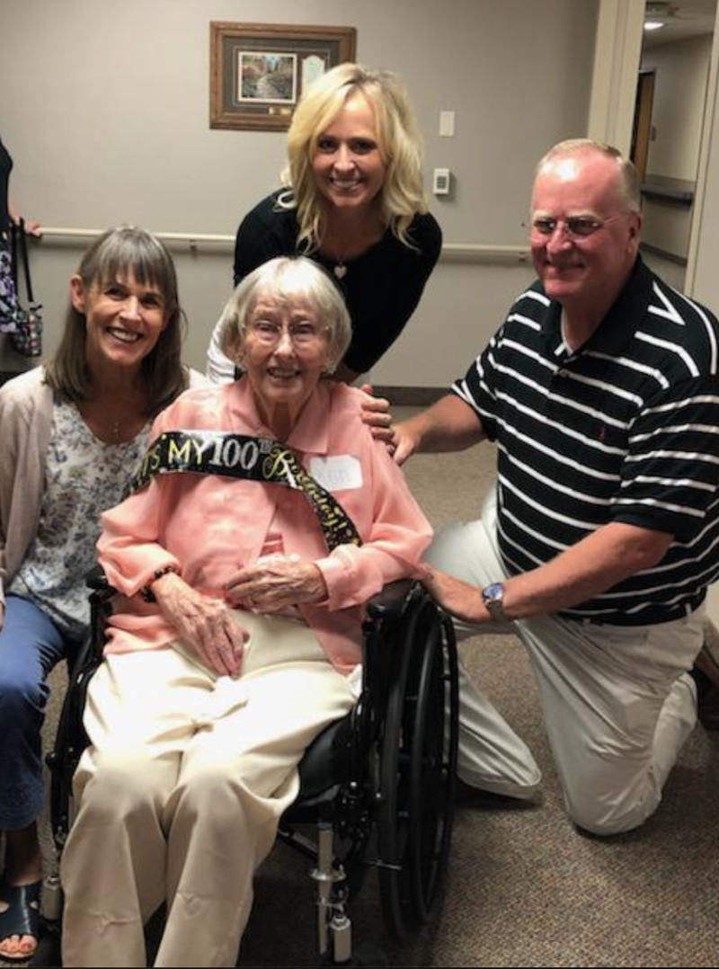 Sisters Kerry Maggard and Deb Eggers took an Uber 200 miles to be able to attend their aunt Ann's 100th birthday party. (Photo: Kerry Maggard via Storyful)