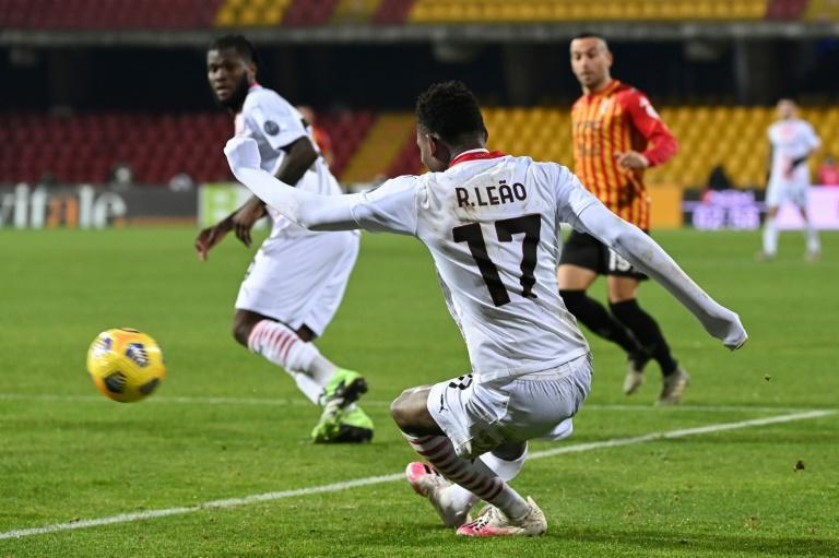Portuguese forward Rafael Leao scored AC Milan's second goal from a tight angle