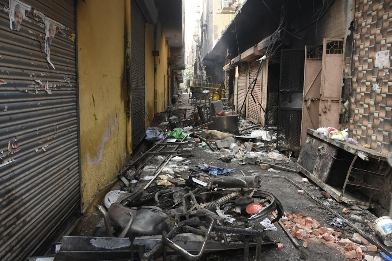 DELHI, INDIA - FEBRUARY 26 : Destruction and mess in a path are seen following the Citizenship Amendment Act (CAA) clashes in Delhi, India on February 26, 2020. (Photo by Javed Sultan/Anadolu Agency via Getty Images)