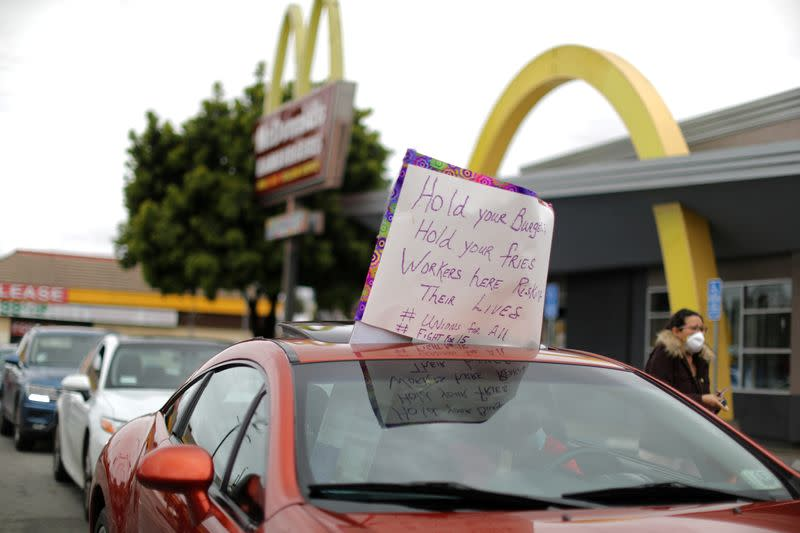 FILE PHOTO: McDonald's workers strike for protective gear, as the spread of the coronavirus disease (COVID-19) continues, in Los Angeles