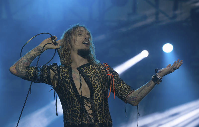 Justin David Hawkins of the band Darkness performs during the Hell and Heaven music festival in Mexico City, Friday, May 4, 2018. (AP Photo/Oswaldo Ramirez)
