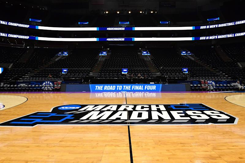 General overall view of the March Madness logo at center court before the first round of the 2019 NCAA tournament at Vivint Smart Home Arena. (Kirby Lee-USA TODAY Sports)