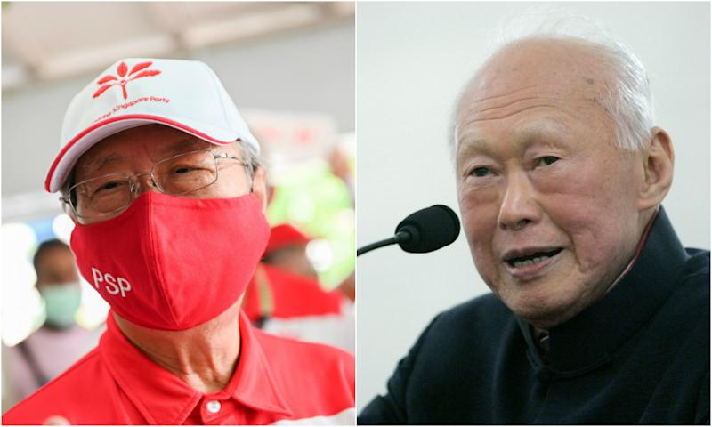 Dr Tan Cheng Bock (left) and the late Lee Kuan Yew. (PHOTOS: Joseph Nair for Yahoo News Singapore, AP file photo)