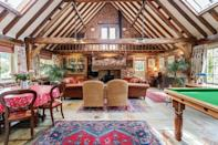 """<p>A traditional barn in the woodlands of the Surrey Hills near the market town of Dorking, where only walkers and horse riders make up the traffic, this is a fabulous home from home outside of London. </p><p>A pool table for entertainment, three bedrooms and beautiful features, like the exposed beams and picturesque garden, make this one place you'll love for a weekend getaway with friends or family.</p><p><a class=""""link rapid-noclick-resp"""" href=""""https://airbnb.pvxt.net/DVWx6y"""" rel=""""nofollow noopener"""" target=""""_blank"""" data-ylk=""""slk:CHECK AVAILABILITY"""">CHECK AVAILABILITY</a></p>"""
