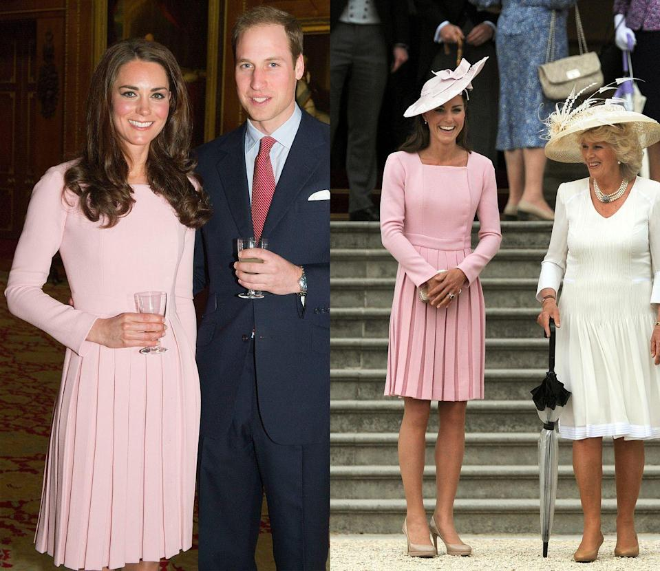 <p>Kate first wore this blush pink Emilia Wickstead dresscoat in May 2012, rewearing it a few weeks later, this time with a hat, for a garden party at Buckingham Palace. </p>