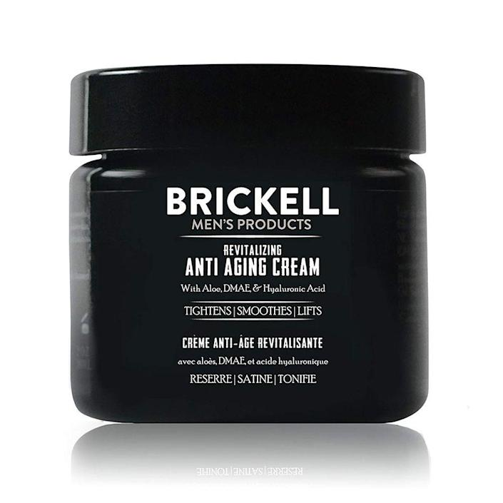"""<p><strong>Brickell Men's Products</strong></p><p>amazon.com</p><p><strong>$40.00</strong></p><p><a href=""""https://www.amazon.com/dp/B00O25NI7Q?tag=syn-yahoo-20&ascsubtag=%5Bartid%7C2139.g.19521968%5Bsrc%7Cyahoo-us"""" rel=""""nofollow noopener"""" target=""""_blank"""" data-ylk=""""slk:BUY IT HERE"""" class=""""link rapid-noclick-resp"""">BUY IT HERE</a></p><p>Since no one has yet discovered a way to bottle the Fountain of Youth, look into the next best option for stopping wrinkles in its tracks: an <a href=""""https://www.menshealth.com/grooming/g19518368/anti-aging-for-men/"""" rel=""""nofollow noopener"""" target=""""_blank"""" data-ylk=""""slk:anti-aging"""" class=""""link rapid-noclick-resp"""">anti-aging</a> cream. Brickell has an amazing skincare solution that eliminates crow's feet, fine lines, and other signs of aging on Dad's handsome mug. A 2 oz. jar goes a long way. </p>"""