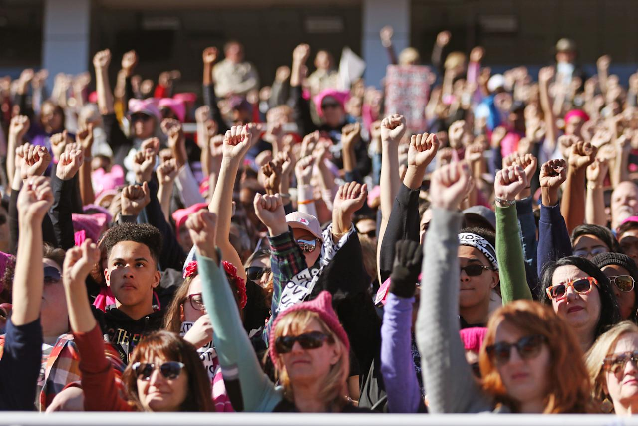 <p>An estimated 20,000 women came out to Sam Boyd Stadium in Las Vegas for Power to the Polls on Sunday, Jan. 21. (Photo: Ronda Churchill for Yahoo Lifestyle) </p>