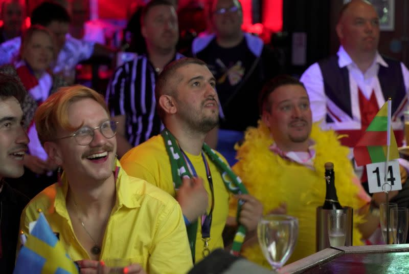 Fans watch the Eurovision song contest in the Royal Vauxhall Tavern in London