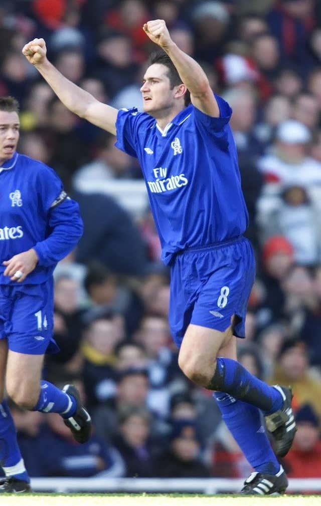 Lampard made his Chelsea debut against Newcastle, appearing in all of the club's matches during the 2001-02 season and scoring eight goals