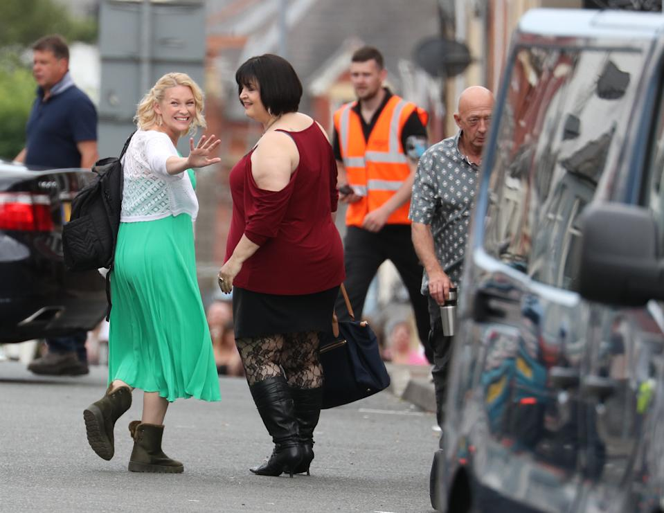 Joanna Page and Ruth Jones during filming for the Gavin and Stacey Christmas special at Barry in the Vale of Glamorgan, Wales. (Photo by Andrew Matthews/PA Images via Getty Images)