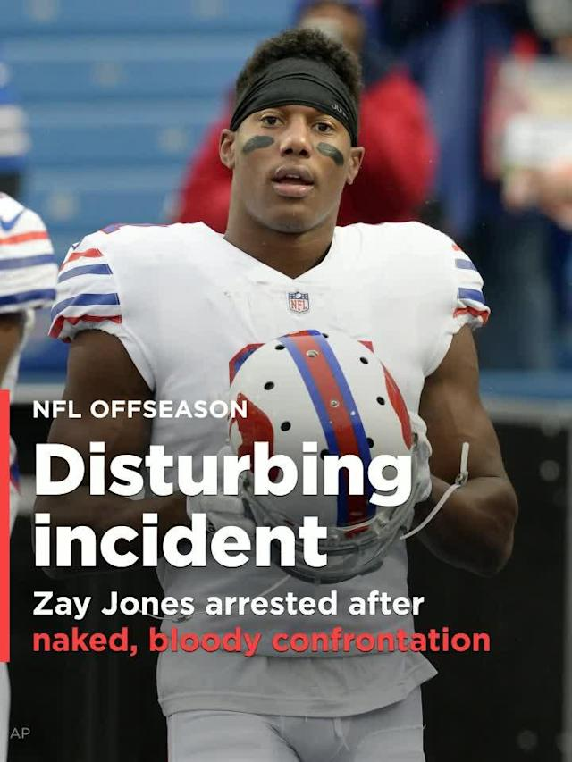 Buffalo Bills wide receiver Zay Jones was arrested in Los Angeles late Monday after an incident with his brother that left walls bloodied and glass broken in an apartment building, TMZ reports.