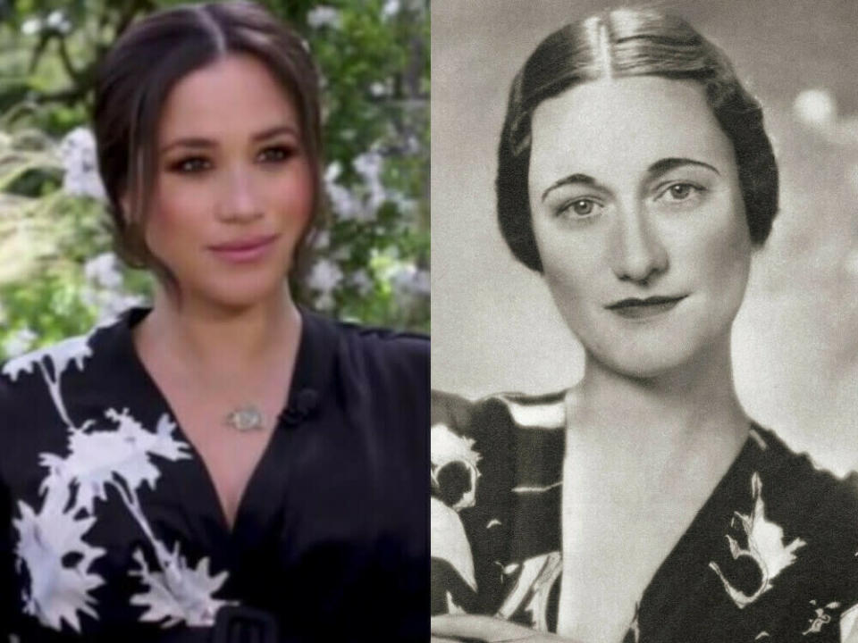 War Herzogin Meghans (l.) Interview-Look von Wallis Simpson - hier im Jahr 1936 - inspiriert? (Bild: [M] Screenshot/Youtube/CBS / IMAGO / Design Pics)
