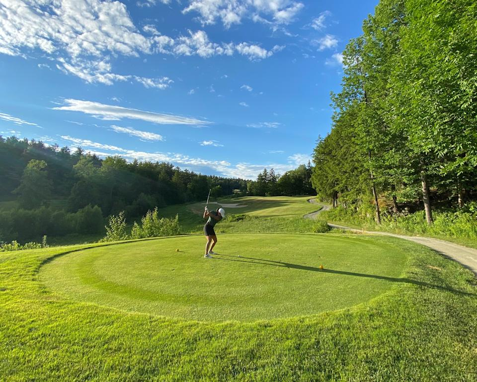 Rachel Kim at the Montcalm Golf Club in Enfield, New Hampshire. She first got interested in golf early this spring and the coronavirus pandemic upended normal life. Now she plays once a week and is planning trips around the sport.