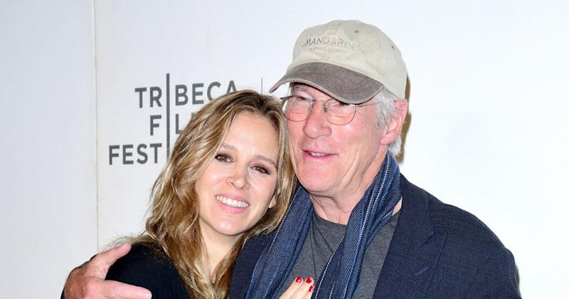 95aae86395 Richard Gere Cuddles Up with His Wife Alejandra During First Public Outing  Since Welcoming Son