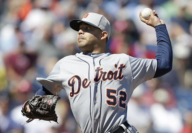 Detroit Tigers starting pitcher Jose Alvarez throws a pitch during the first inning of an exhibition baseball game against the Philadelphia Phillies Friday, Feb. 28, 2014, in Clearwater, Fla. (AP Photo/Charlie Neibergall)