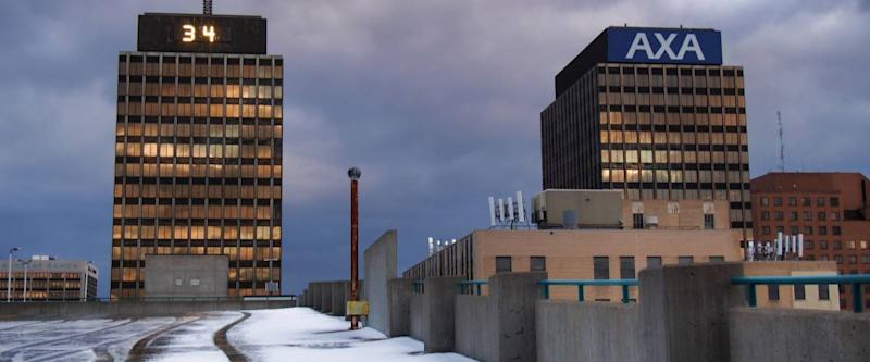 Syracuse, New York, USA. January 1, 2017.View of the AXA and Mony Towers New Year's Day morning, 2017