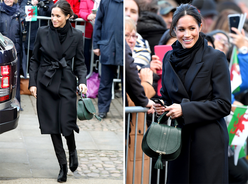 Wearing a Stella McCartney coat and carrying a DeMellier London bag.