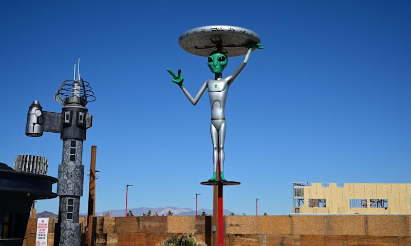 An Alien sculpture lines the side of the road in the town of Baker, California, which claims the world's largest thermometer at 134 feet, and it also known as the 'Gateway to Area 51' on March 4, 2019. - The Alien sculptures are part of the business Alien Fresh Jerky remains a popular spot for a break for drivers going to and from Los Angeles to Las Vegas. (Photo by Frederic J. BROWN / AFP) (Photo credit should read FREDERIC J. BROWN/AFP/Getty Images)