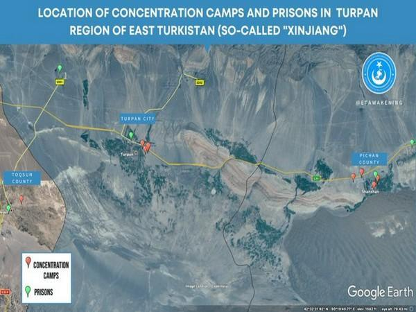Location of 15 detention facilities in Turpan, Xinjiang (Photo source: East Turkistan National Awakening Movement Twitter)