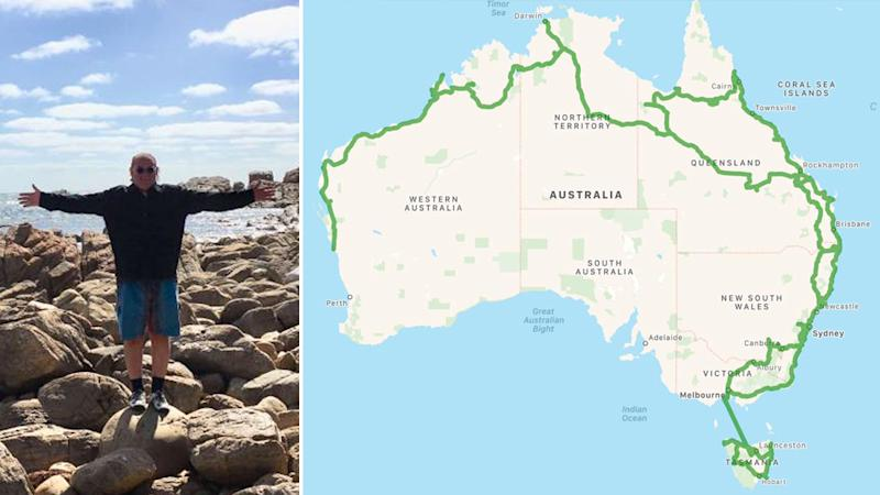 "Micheal Christopher (left) has been tracking his road trip on Facebook (right) ""We're getting there. Not quite sure where 'there' is yet,"" he said Source: Supplied"