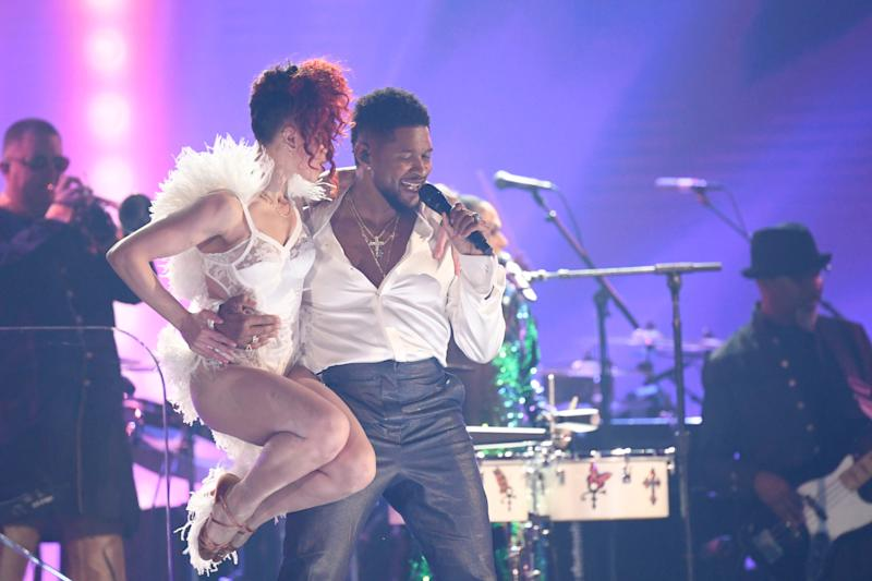 FKA twigs and Usher perform during a Prince tribute at the 62nd annual Grammy Awards.
