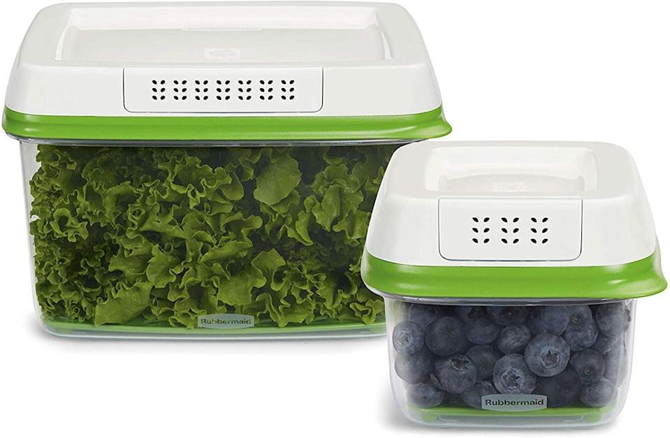 """<p>Keep your produce fresh for longer with the <span>Rubbermaid FreshWorks Produce Saver Food Storage Container Set</span> ($27, originally $40 for a two-piece set). It comes in several other size options too, so you can get what suites you most. Plus, it's <a href=""""https://www.popsugar.com/food/rubbermaid-produce-saver-container-review-47438149"""" class=""""link rapid-noclick-resp"""" rel=""""nofollow noopener"""" target=""""_blank"""" data-ylk=""""slk:an editor-favorite"""">an editor-favorite</a> too. </p>"""