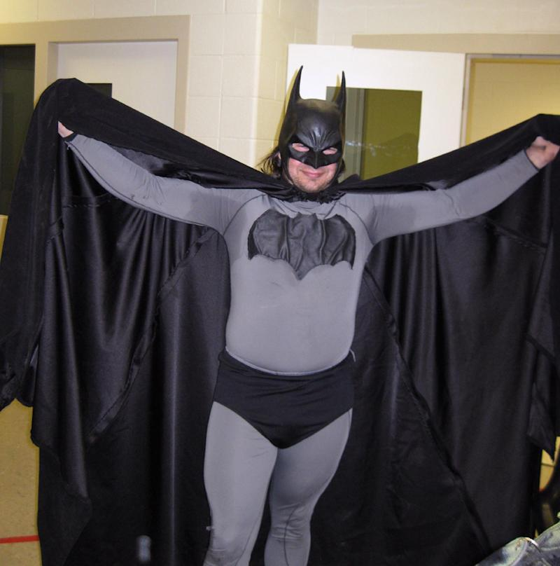 In this May 11, 2011 file photo provided by the Petoskey, Mich., Department of Public Safety shows Mark Williams dressed as Batman, at the Emmet County jail in Petoskey, Mich.  Michigan State Police arrested Williams, 33, in his Batman outfit, for resisting and obstructing police in an investigation Saturday, Sept. 29, 2012 at a personal injury accident. Willams wanted to help look for the driver, but his scent kept confusing a police dog in its search.  (AP Photo/Petoskey Department of Public Safety via Petoskey News-Review)