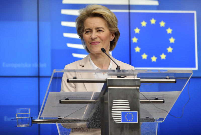 European Commission President Ursula von der Leyen speaks during a media conference after a meeting with Turkish President Recep Tayyip Erdogan at the European Council building in Brussels, Monday, March 9, 2020. Turkish President Recep Tayyip Erdogan visited Brussels on Monday for talks with European Union officials amid a standoff between Ankara and Brussels over sharing of responsibility for refugees and migrants. (AP Photo/Olivier Matthys)