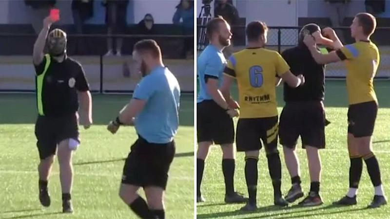 The jilted ex-referee was unmasked by a player. Pic: YouTube/Capital Football