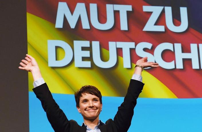 Alternative for Germany (AfD) leader Frauke Petry greets supporters at a 2015 rally in Hannover, central Germany (AFP Photo/Swen Pfortner)