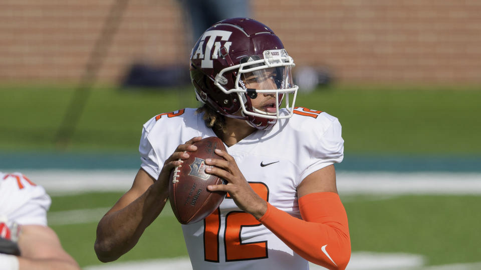 Texas A&M QB Kellen Mond had a solid Senior Bowl and brings four years of starting experience into the NFL. (AP Photo/Matthew Hinton)
