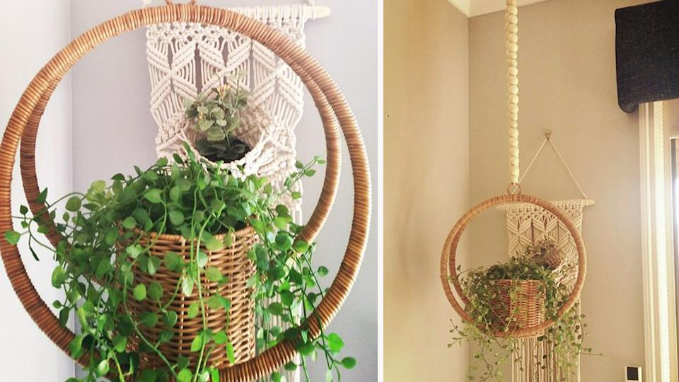 (left) close image of 'gorgeous' $12 Kmart Woven Plant Hanger selling out in Kmart store. (Right) same woven plant hanger from further away held up with $7 Kmart beads.