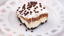 "<p><strong>Recipe: </strong><a href=""https://www.southernliving.com/recipes/chocolate-lasagna"" rel=""nofollow noopener"" target=""_blank"" data-ylk=""slk:Chocolate Lasagna"" class=""link rapid-noclick-resp""><strong>Chocolate Lasagna</strong></a></p> <p>The grandkids will love crushing up the Oreo cookie crust for this retro layered dessert. Plus, you don't have to worry about any oven-related injuries with this no-cook option.</p>"