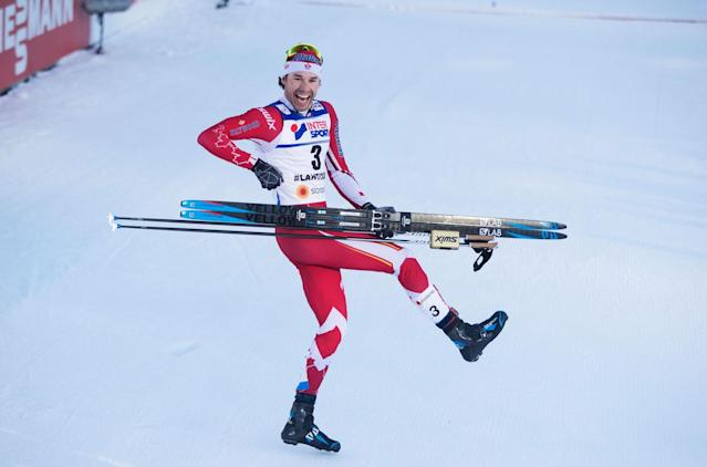 <p>Alex Harvey celebrates with a little air guitar after taking home gold in the 50-kilometre freestyle race at the 2017 cross-country skiing world championships, becoming the first North American do so since 1925. (Nils Petter Nilsson/Getty Images) </p>