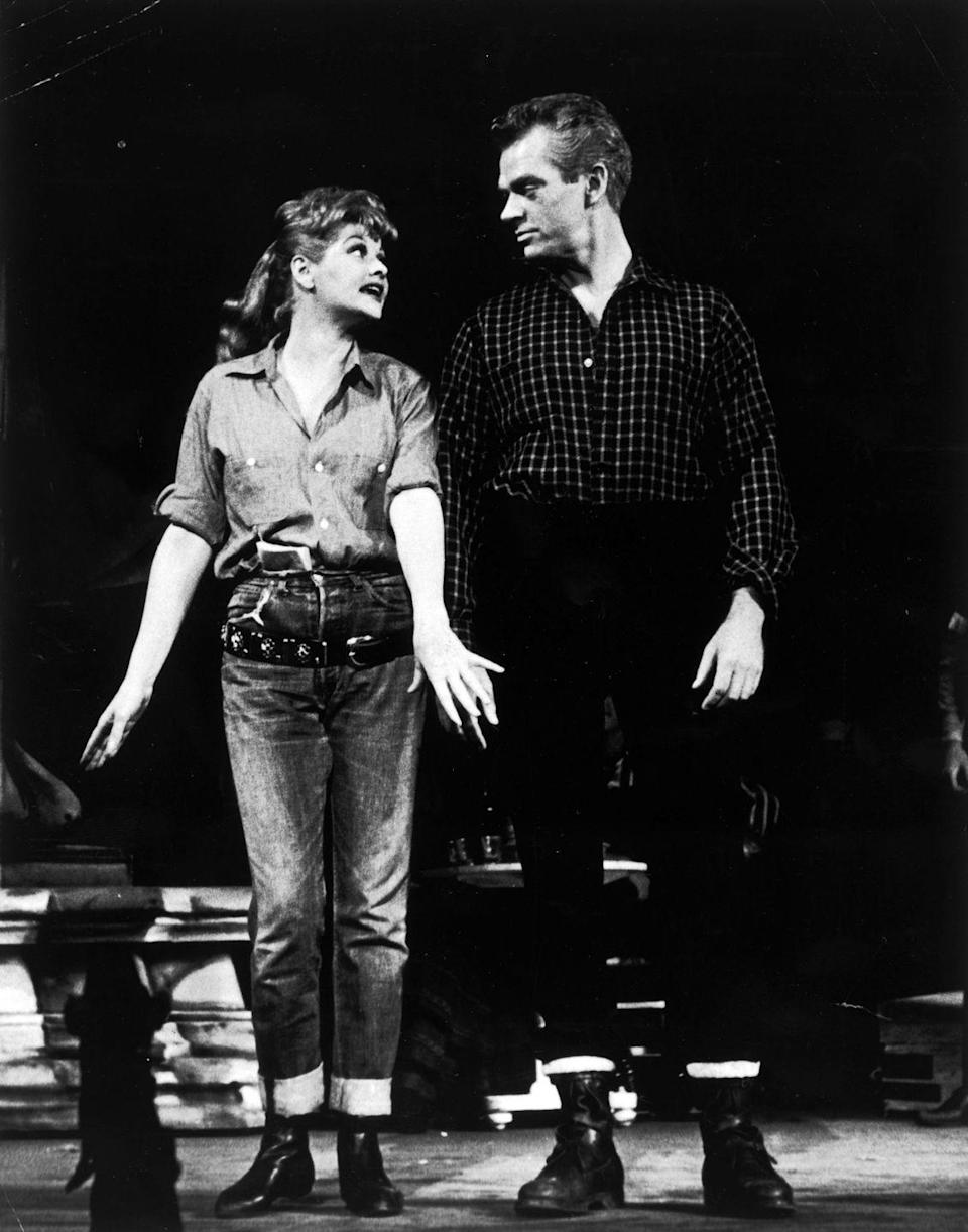 <p>Lucille Ball, in a Broadway production of <em>Wildcat</em>, reps more of the cuffed, boxy look, which makes sense because her character's supposed to be an oil miner. On the set of <em>I Love Lucy,</em> though, her jeans were more fitted and feminine. </p>