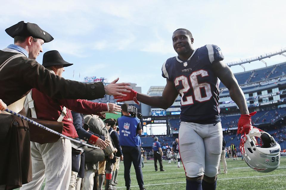 Sony Michel reminded football fans why the Patriots used a first-round draft pick on him this year. (Getty Images)