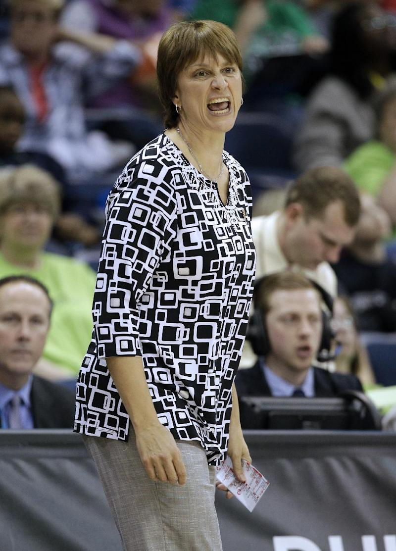 Nebraska head coach Connie Yori directs her team during a regional semifinal game against Duke in the women's NCAA college basketball tournament Sunday, March 31, 2013, in Norfolk, Va.  (AP Photo/Steve Helber)